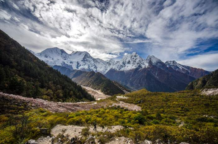 A Trekker and Manaslu Range seen in background from Bimthang, Manang